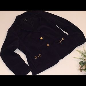 TALBOTS Navy Blue Corduroy Fitted Jacket 12p
